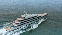 273-foot Feadship SAVANNAH, the world's largest hybrid superyacht, heads out for sea trials on the North Sea.