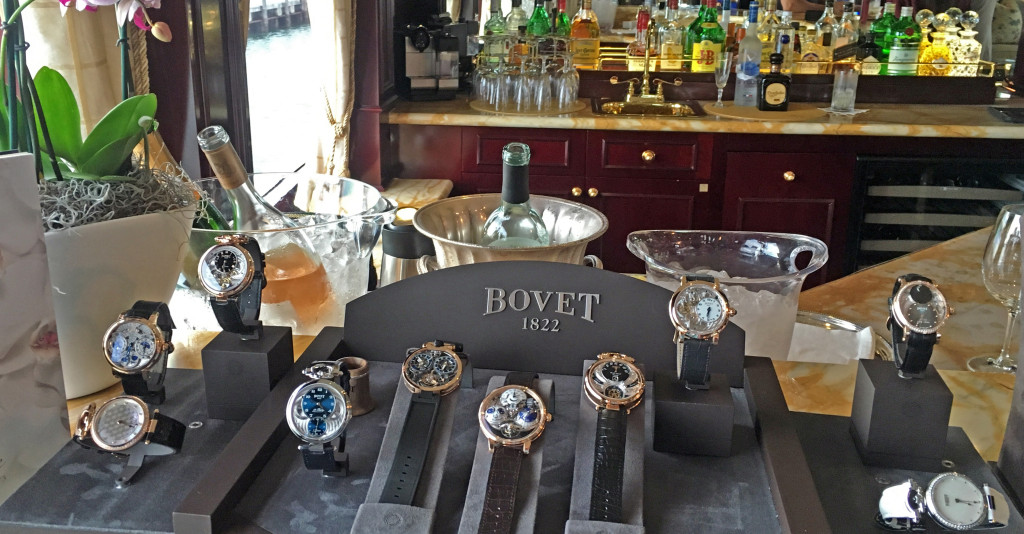 The skylounge was decorated with beautiful timepieces courtesy of event partner Bovet 1822.