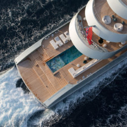 274-foot (83.5 meter) Feadship Savannah—a yacht that transcends many design conventions, including being the largest hybrid-powered motoryacht launched to date.