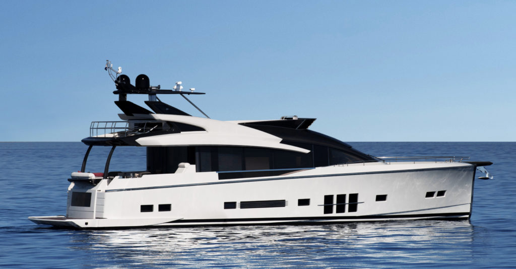 Italian-designed. German-engineered. This new-age full-carbon hybrid sport yacht doesn't sacrifice form for function.