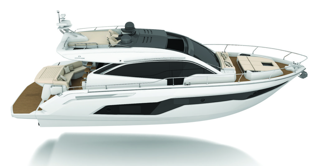 "Developed in conjunction with Christian Grande, this 52 is part of the Evoluzione line (that's what that ""E"" stands for), which makes the most of next-gen Volvo Penta IPS power in a refined and sleek package."