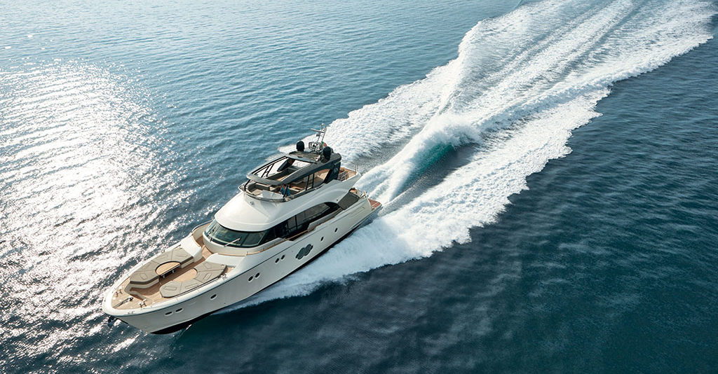 The latest luxurious addition to the Monte Carlo Yachts line is an 80-footer that combines luxurious outdoor space with a four-stateroom layout.