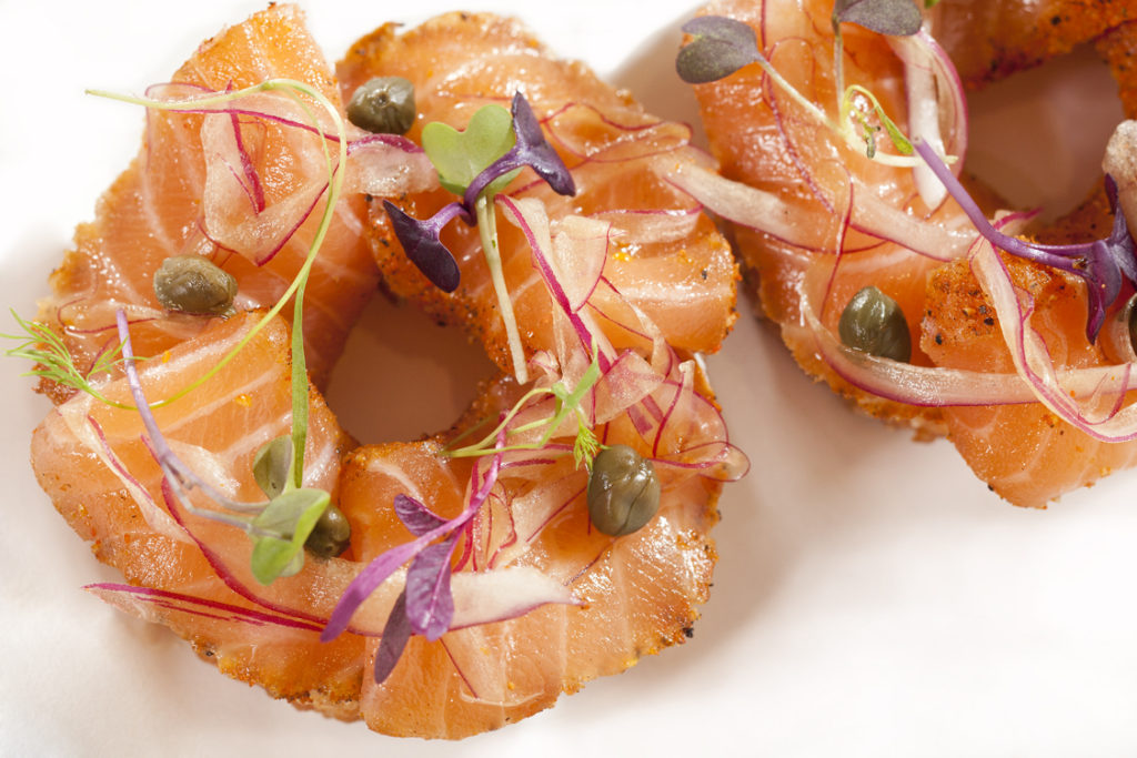 """Nobu restaurant's sumptuous """"Bagel & Lox"""" is a must-try."""